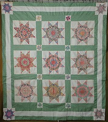 Vintage 30s Green & White Star Feedsack Quilt Top