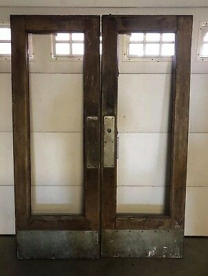 Antique Architectural Salvage Store Front Swinging French Doors w/Some Hardware