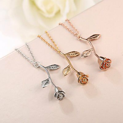 Chic Rose Flower Leaf Necklace Pendant Chain Lover Valentine's Day Gift Jewelry