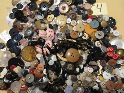 Vintage Antique Mixed Button LOT over 1 Pound Metal Fabric MOP & MORE #4