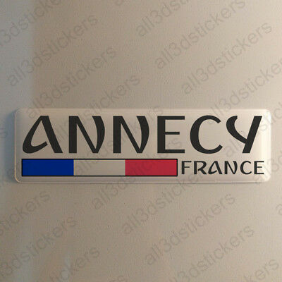 """Annecy France Sticker 4.70x1.18"""" Domed Resin 3D Flag Stickers Decal Vinyl"""