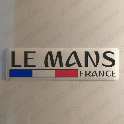 """Le Mans France Sticker 4.70x1.18"""" Domed Resin 3D Flag Stickers Decal Vinyl"""