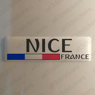 """Nice France Sticker 4.70x1.18"""" Domed Resin 3D Flag Stickers Decal Vinyl"""