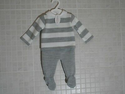 Spanish style baby Boy Girl knitted 2 Piece top and leggings set grey white 0-9m
