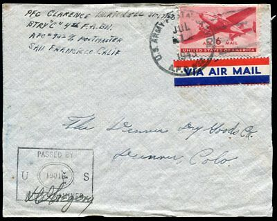 New Hebrides 1943 US APO 932 Santo Army censored cover to USA,unusual use of CDS