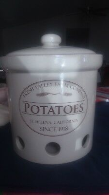 Chef Fresh Valley Farm Company Helena Potato Crock Canister Storage Container