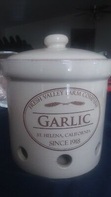Chef Fresh Valley Farm Company St Helena Garlic Crock Canister Storage Container