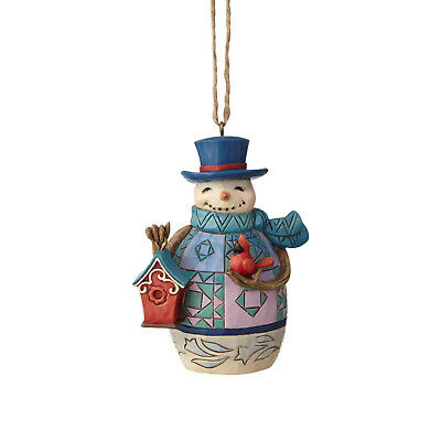 Jim Shore~Mini Snowman With Bird Ornament~Christmas~New 2018~Cardinal~6001518