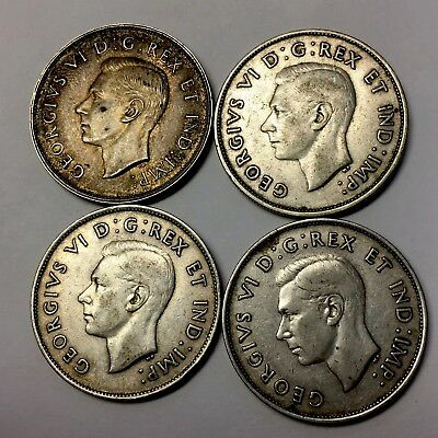 Lot of (4) CANADA HALF DOLLARS - 50 CENTS  -(1940-1941) - 80% SILVER - See Pics