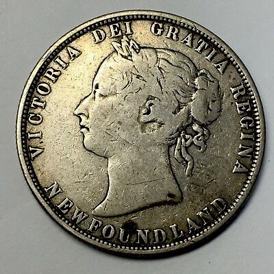 1873 CANADA - NEWFOUNDLAND -50 CENT PIECE - Only 32,000 Mintage - 92.5% Silver