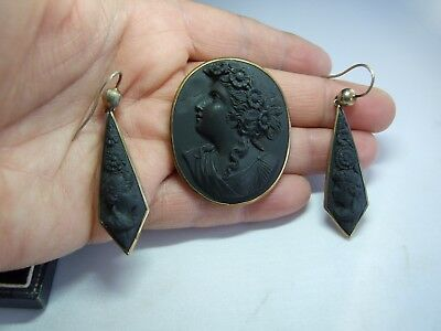 Antique Victorian Lava Cameo Brooch & Earrings Gold Set.