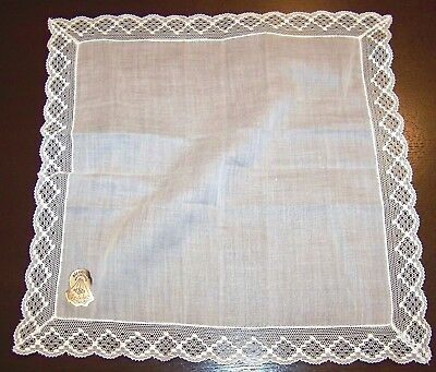 Vintage Handkerchief Hanky Bridal Cotton Desco Lace Edge