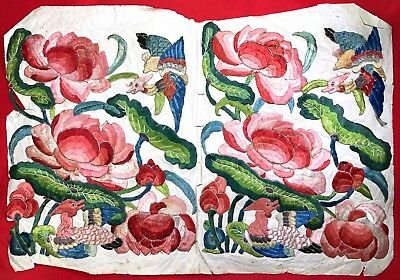 Antique Chinese Hand Embroidery Rank Bagde Panel Phoenix Flowers Silk Applique