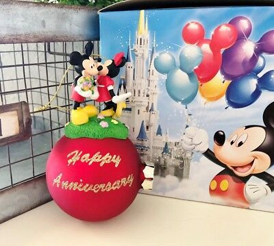 Disney Mickey and Minnie Mouse Happy Anniversary Christmas Ball Ornament WDW