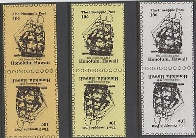 Stamps Hawaii pineapple post 10c ship Old Ironsides in 3 tete-beche proof pairs