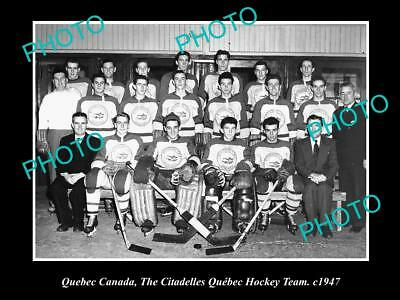 Old Large Historic Photo Of The Citadelles Ice Hockey Team, Quebec Canada 1947