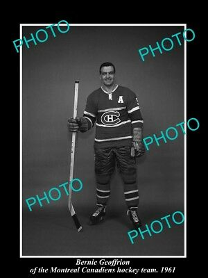Old Historic Photo Of Montreal Canadiens Nhl Hockey Great Bernie Geoffrion 1961