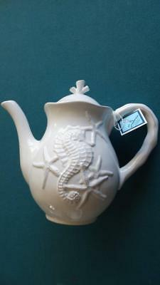 Blue Sky Clayworks Ceramic Teapot Sea Horse & Starfish Embossed White New
