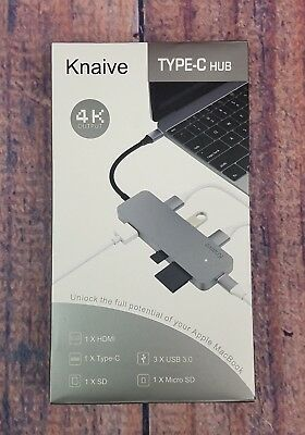 Knaive Aluminum USB C Combo Hub Adapter Dongle Type C Charger Port 4K HDMI