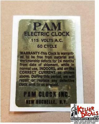 Pam Clock Parts - Back Voltage Label -Gold With Black Lettering (Pam-1)