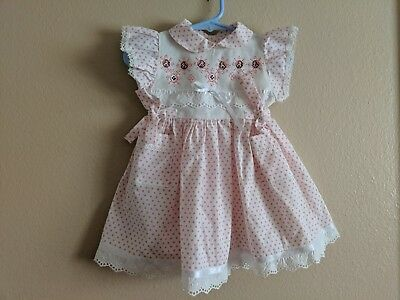 Infant Baby Girl Dress w/ Pockets White w/ Pink Polka Dots & Lace~ 12-18 Mo CUTE