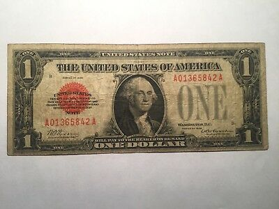 1928 $1 Dollar Funnyback Red Seal Note  F+  Nice Bold Red Colors!!