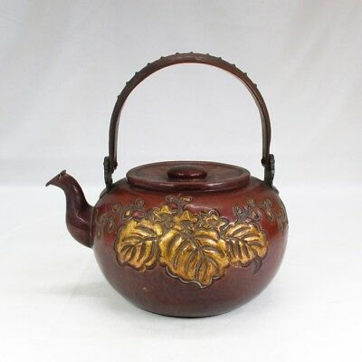 A530: High-class Japanese copper ware kettle with wonderful work and pattern