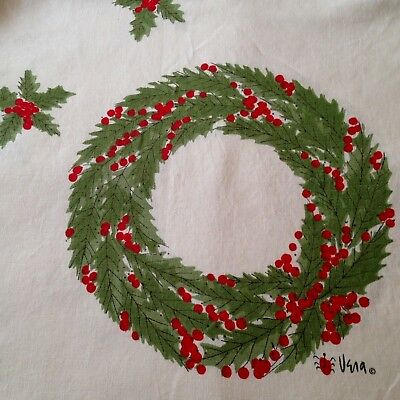 """Vintage Vera Neumann linen square tablecloth Christmas holiday holly wreath 50"""""""
