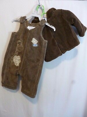 Amy Coe Koala Baby 0-3 Months Lot of 2 Overall Coat Brown