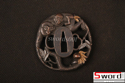 Naughty Monkeys Tsuba Hand Guard For Japanese Samurai Sword Katana Wakizashi