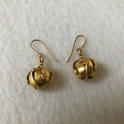 MMA Metropolitan Museum of Art Dangling Gold Tone Earrings KHM 1991