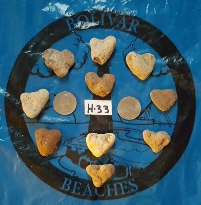 10 Natural Heart Shaped Beach Rock/Stones-( lot H-33)