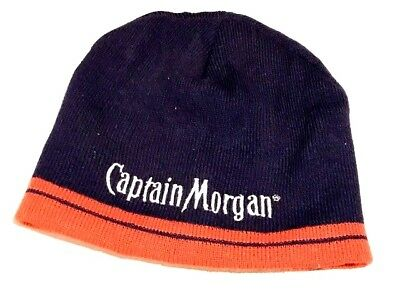 872876510d1 CAPTAIN MORGAN BEANIE Hat Knit Cap Black Embroidered Spell Out ...