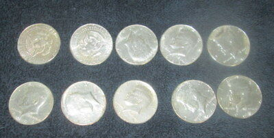 Lot of 10 1964 Kennedy Silver Half Dollars $5 Face Value 90% Silver