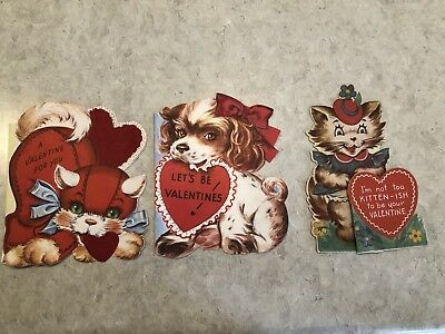 Lot of 3 Vintage Mid-century Cat & Dog Valentine Cards (Signed in pencil)) #2