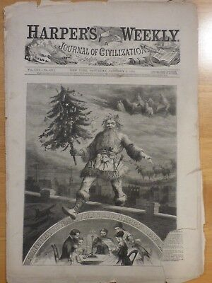 1869 Harper's Weekly Newspaper Christmas stories sketches also Alaska artifacts