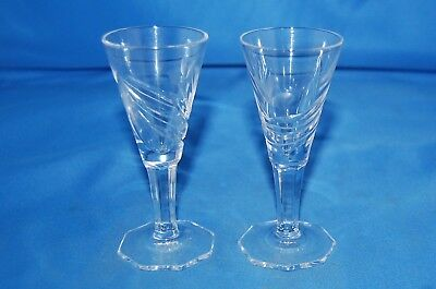 2 Singapore Airlines etched cordial glasses