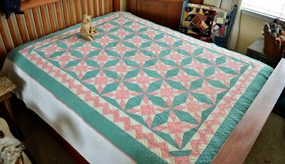 Antique Hand Stitched Kaleidoscope Quilt *
