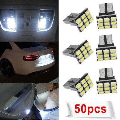 50x White T10 LED 9SMD Car License Plate Light Tail Bulb 2825 192 194 168 W5W US