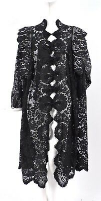 Beautiful Gothic Antique Victorian 19Th C Black Floral Spanish Lace Coat 4 Dress