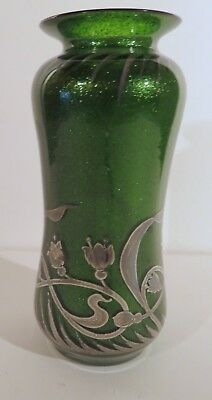 Green Glass Aventurine Vase with Rockwell Silver Overlay Decoration