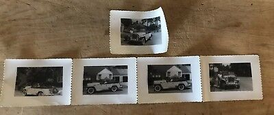 Vintage 1949 Black & White Photo Set Willys Jeep Jeepster Convertible With Owner