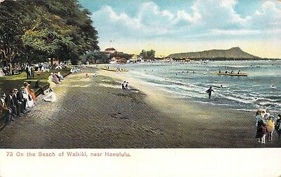 Hawaii Postcards (3), On the Beach at Waikiki, Private Mailing to White Border