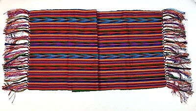 Guatemalan Authentic Table Runner Shawl Fringed Vibrant Textile Handwoven Mayan