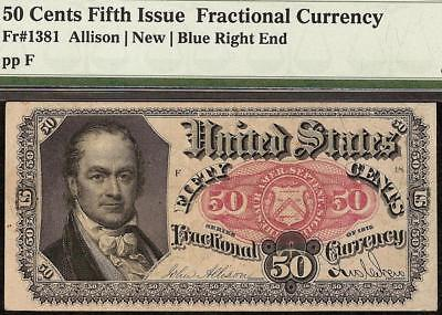 50 CENT FRACTIONAL CURRENCY SERIES 1875 NOTE OLD PAPER MONEY Fr 1381 PMG 35