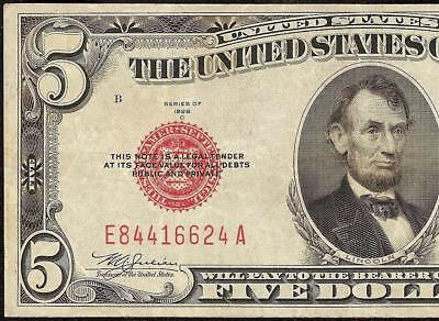 1928 C $5 Dollar Bill United States Legal Tender Red Seal Note Old Paper Money