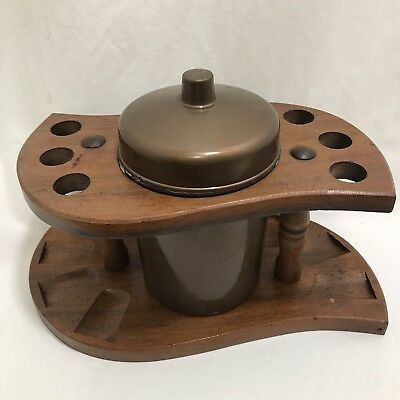 Vintage Wooden 6 Pipe Stand And Plastic Humidor
