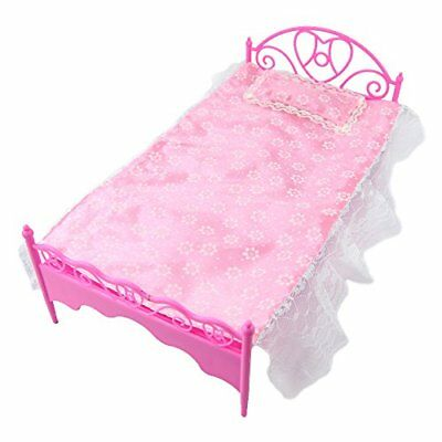 Bed Bedroom for Dolls Dollhouse Plastic Princess Pillow Bed sheet Mini US