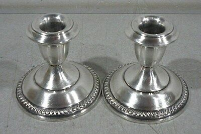 Matching Pair of Weighted Sterling Silver Candlesticks Candle Holders.