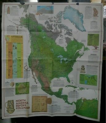 folding map NORTH AMERICA / COLUMBUS + indians National Geographic 1972